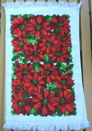 Vtg Terry Cloth Dish/Hand TOWEL Christmas Poinsettia Print USA Cotton Unused