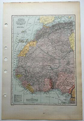 Map Of Africa Northwest Sahara Morocco Algeria Canary Islands C1930 Antique