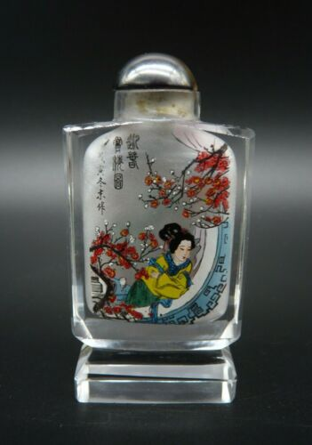Vintage Chinese Reverse Painted Glass Snuff Bottle