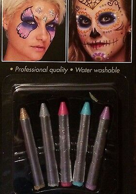 Set of 10ct Halloween Glitter Makeup Crayons Professional Quality Water Washable