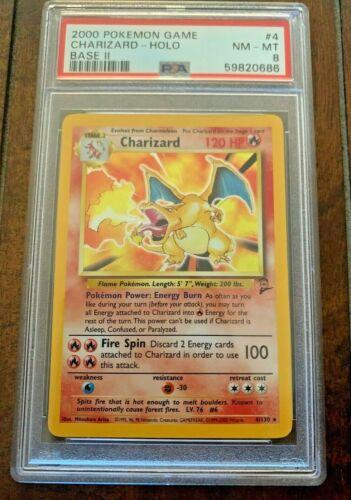 Psa 8 Charizard Holo Base Set 2 #4 Pokemon Card Brand New Cert!