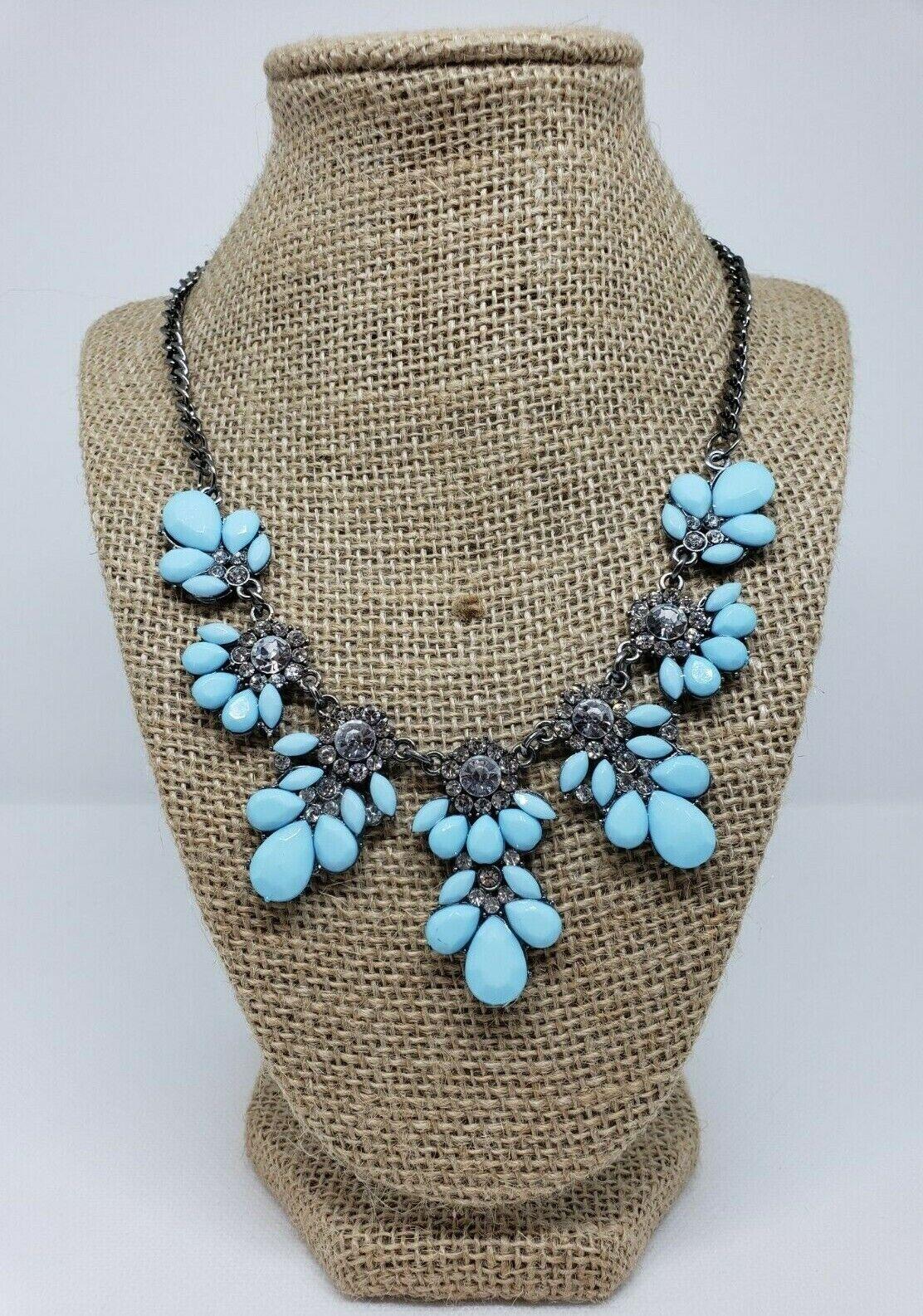Jewellery - Women's Floral Flower Necklace Rhinestones Blue Gun Metal Gray Fashion Jewelry