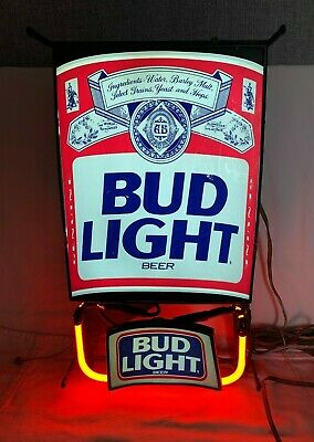 Vintage FRANCE Budweiser BUD LIGHT Beer Can NEON Advertising SIGN MAN CAVE 1980s