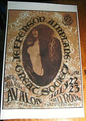 Jefferson Airplane Great Society Avalon Ballroom San Francisco Concert Poster