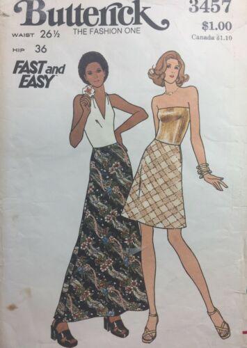 Vintage 1970s Pattern MAXI Skirt Mini Skirt Butterick #3457 W 26.5 Hip 36 UNCUT