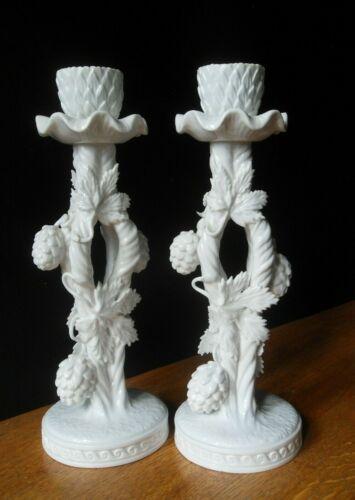 ANTIQUE COPELANDS SPODE FANCIES WHITE PORCELAIN CANDLE HOLDERS Set of 2