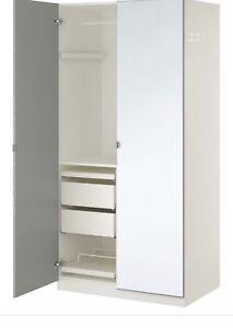 IKEA pax wardrobe closets mirrored facia