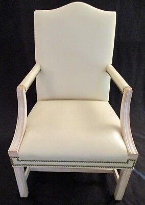 HANCOCK & MOORE MARTHA WASHINGTON EXECUTIVE CHAIR IVORY LEATHER NAILHEAD TRIM