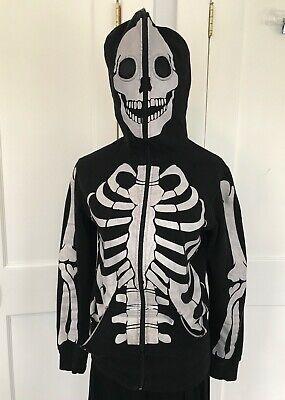 Men's Skeleton Halloween Hoodie Sweatshirt (Rude, Skeleton Hoodie, Black, Zip Up, Halloween, Men's Size)