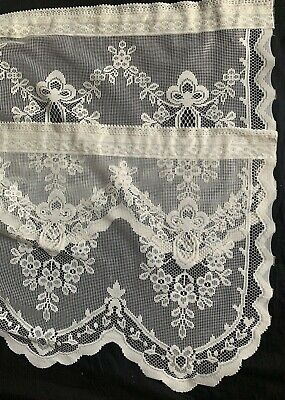 """Heritage Lace Valance Curtain Lot of 2 Ecru Floral, Swag, Scallop 18""""x60"""" Panels"""
