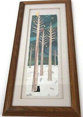 Susan Shepard original Artwork paper painting collage folk Woods cat bird