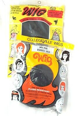 Vintage Halloween Wigs Lot w/ Original Bags Great Graphics on Bag Costume Pcs