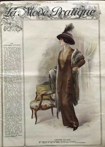 MODE PRATIQUE Nov 16,1912 +sewing patterns - Velvet Coat, velvet, wool costumes