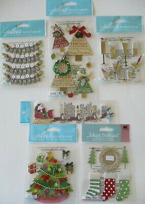 Jolee's Boutique Scrapbooking Stickers Lot CHRISTMAS Tree Santa Sleigh New Year Santas New Sleigh