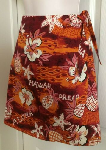 Hilo Hattie ~ VTG Hawaiian Short Wrap Luau Skirt/Skort Pineapple/Hibiscus NWT M