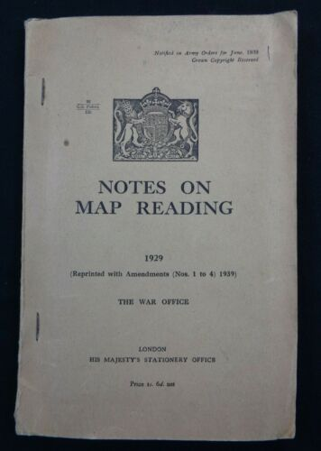 """WW2 (1943) British WAR OFFICE Manual """"NOTES ON MAP READING"""" (95 Pages + CHARTS)"""