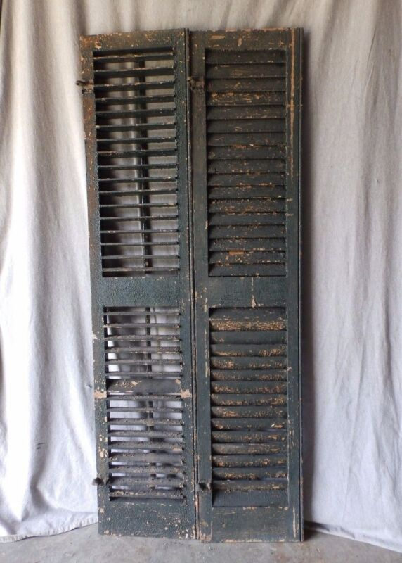 Pair Antique Window Wood Louvered Shutter Shabby Old Chic Vintage 70X12 57-17P
