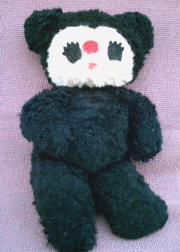 """VINTAGE Carnival Toy Black White Panda Teddy Bear 12"""" Plush Bean Body USA 1950s?"""