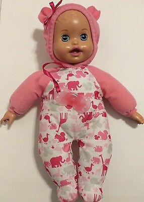 "Little Mommy Bedtime Baby Doll Mattel 2011 Talks/Musical interactive 13"" EUC"