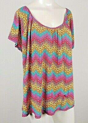 Lapis Women Top Blouse Scoop Neck Short Sleeve multicolor honeycombs Sz Large Honeycomb Scoop Neck