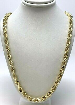 """Men's 14k Solid Yellow Gold Diamond Cut Rope Chain Necklace 22"""" 7mm 78.9 grams"""