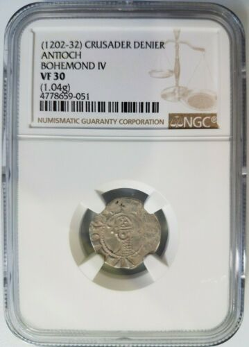 Antioch Bohemond IV NGC VF30 Silver Denier Knights Templar Crusader Cross