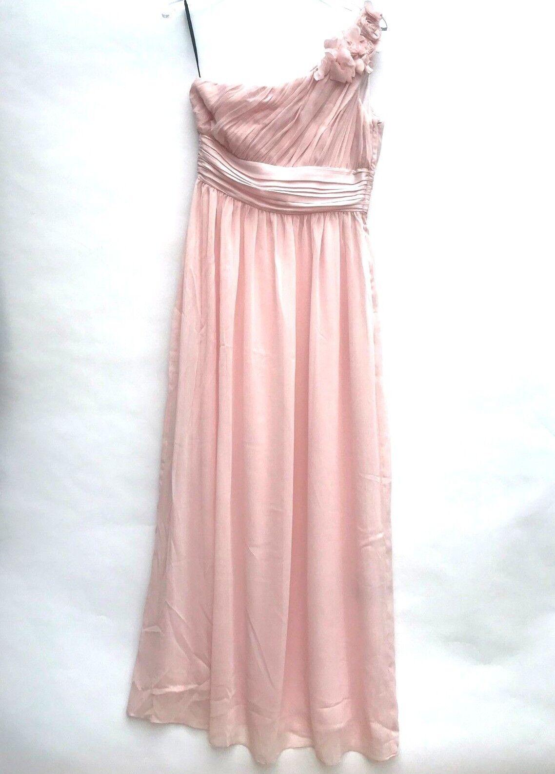 H&M pink Maxi Hochzeit Brautjungfer Ball Party Kleid Größe UK 10 12 ...