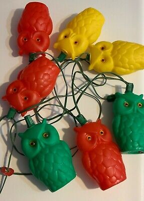 Vintage Owl-Lites String Lights Retro Lantern Patio RV Camper 6'' Blow Mold Owls