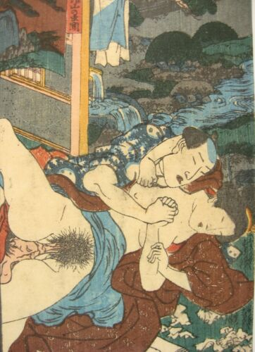 ANTIQUE (1840) JAPANESE ORIGINAL UKIYOE SHUNGA EROTIC WOODBLOCK PRINT KUNISADA