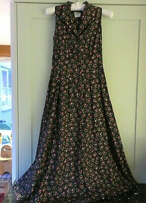 Vintage Laura Ashley Dress Black pink MD016 floral print Midi sleeveless UK 10