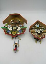 Vtg Engstler Mini Cuckoo Clock Germany Lot 2 Swinging Girl Mushroom German Red