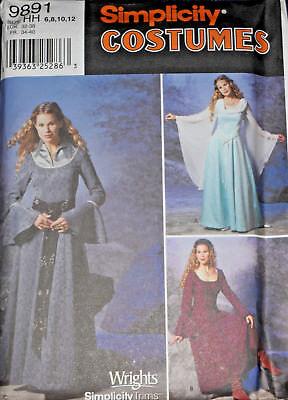 Renaissance Midieval Gowns size 6-12 Simplicity 9891 Sewing Pattern (Renaissance Gowns Plus Size)