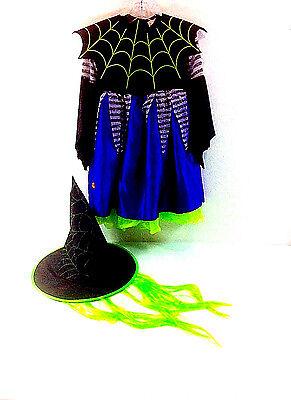Disguise Girls Witch 3 Piece Halloween Costume Hat Hair Spider Collar Dress 3/4T](Spider Halloween Costume 4t)