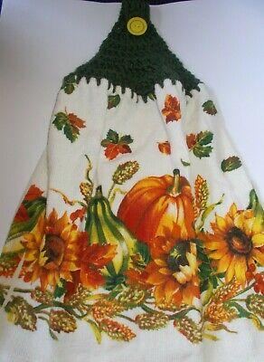 GREEN Yarn Crochet Top PUMKIN GOURD AUTUMN Print Cotton Kitchen Dishtowel