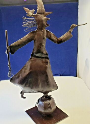 Vintage Halloween Metal Rotating  Wicked Witch Pumpkin Statue ART Decor UNIQUE