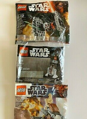 Lego Star Wars 3 Polybag Lot R3-M2, Battle Droid 30058 & Tie Fighter 30276 New