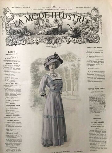 MODE ILLUSTREE SEWING PATTERN August 8,1909 . Matinee, dress, coat...