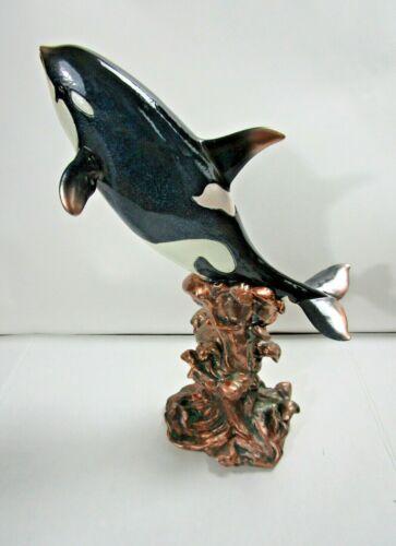 "Orca Whale Sculpture Figurine Resin 17"" SeaWorld Shamu"