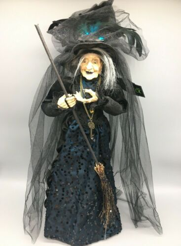 """Halloween Witch Wicca Bride Doll Black Blue Feathers Sequins Decor Prop 23"""" NEW"""