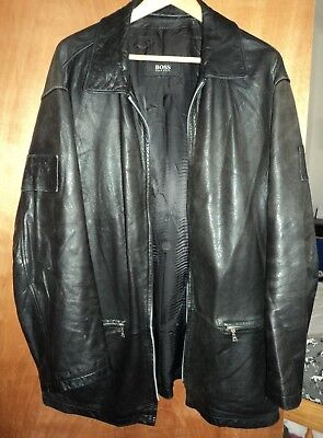 """Authentic HUGO BOSS Black LAMB ANILINE Leather Lived-in Jacket Size XL Chest 48"""""""