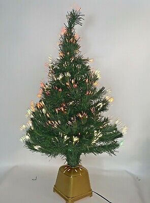 """Vintage Rare Fiber Optic Color Changing Christmas Tree in Gold Base 32"""" **Video*"""