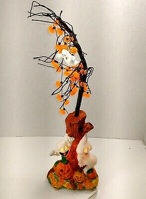 Vintage Halloween Ceramic Ghost pumpkin Lighted Tree