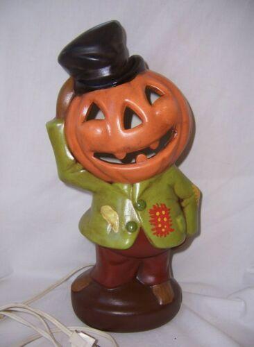 Vintage Halloween PUMPKIN JACK-O-LANTERN Head SCARECROW Man Ceramic Lamp Light