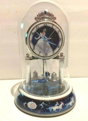"DISNEY PRINCESS CINDERELLA PENDULUM ANNIVERSARY CLOCK GLASS DOME 9""T"