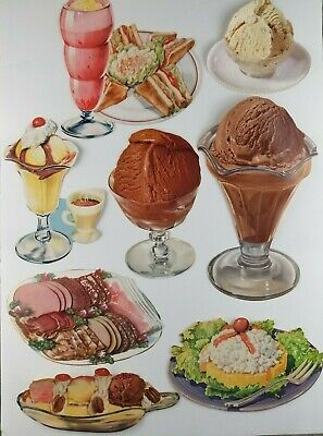 1950 Diner Decor (Vintage Lot of 8 Paper Food Diecut 1950's Decorations Diner Cafe Ice Cream )