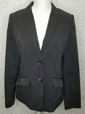 H&M Gray White Pinstripe 2 Button Blazer Pocket Size 10