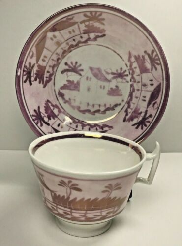 Antique Pink Luster Tea Cup & Saucer Lusterware