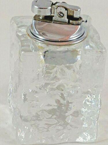 VINTAGE HEAVY CRYSTAL / GLASS TABLE LIGHTER