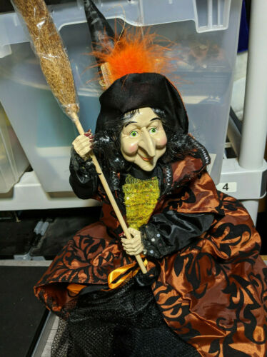 "30"" Witch w/Broom Halloween Decoration Prop, Spooky Rag Doll Figure"