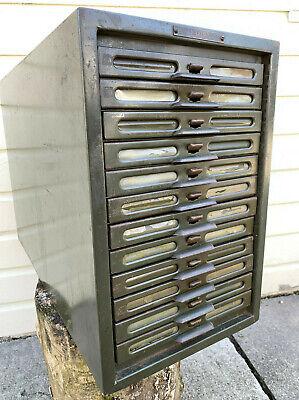 12 Drawer Kardex Metal File Catalog Printers Shop Cabinet Green Pat. 1922